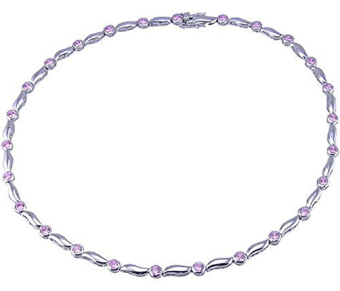 Pink Cubic Zirconia .925 Sterling Silver Rhodium Plated 16 inch Necklace