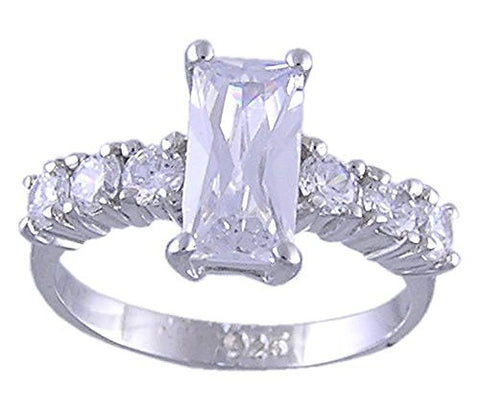 .925 Sterling Silver Rhodium Plated Cubic Zirconia Ring