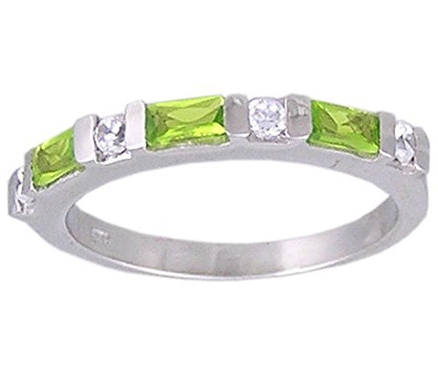 Peridot Cubic Zirconia .925 Sterling Silver Rhodium Plated Ring