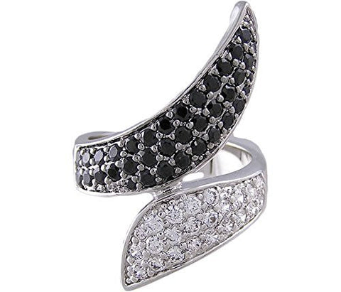 Black and Clear Cubic Zirconia Ring