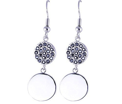 Black CZ Rhodium Plated Earrings
