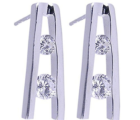 Two Stone Cubic Zirconia .925 Sterling Silver Earrings