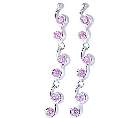 Pink Cubic Zirconia .925 Sterling Silver Earrings