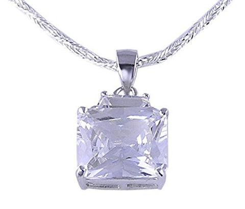 Emerald Cut CZ (Cubic Zirconia) .925 Sterling Silver Pendant with Rhodium Plating