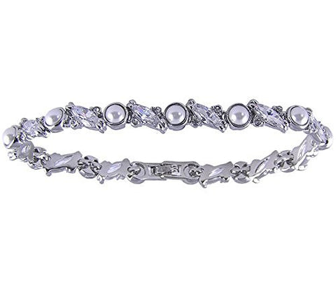 7 1/4 inch Cubic Zirconia and Synthetic Pearl Rhodium Plated Bracelet