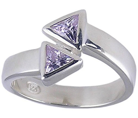 Twin Triangle Lavender Cubic Zirconia .925 Sterling Silver Rhodium Plated Ring