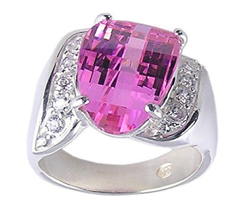 Diamond Cut Pink Cubic Zirconia .925 Sterling Silver Ring