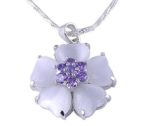Amethyst CZ (Cubic Zirconia) and,Simulated Pearl Flower .925 Sterling Silver Pendant with Rhodium Plating