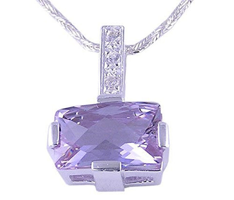Lavender and Clear Cubic Zirconia CZ .925 Sterling Silver Pendant