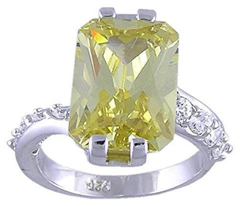 Canary Yellow Cubic Zirconia .925 Sterling Silver Rhodium Plated Ring