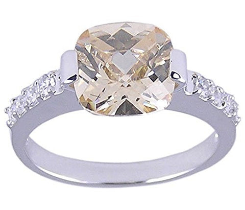 Rhodium Plated .925 Sterling Silver Ring Champagne Cubic Zirconia Ring