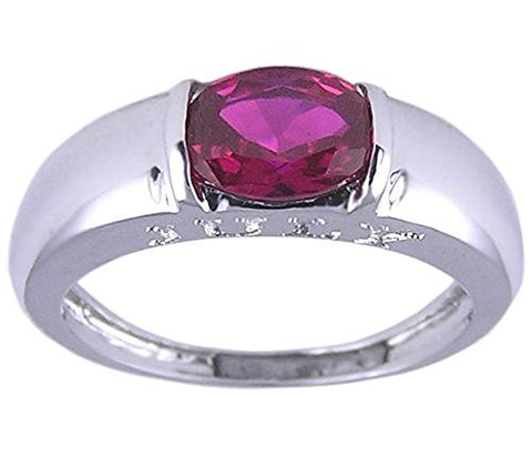 Rhodium Plated Ruby Cubic Zirconia Ring