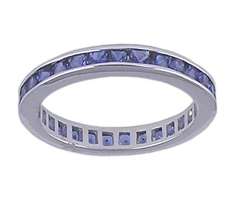 Sapphire Blue CZ Eternity Rhodium Plated .925 Sterling Silver Ring