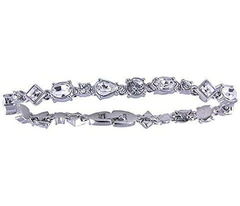 7 inch Swiss Crystal Rhodium Plated Bracelet