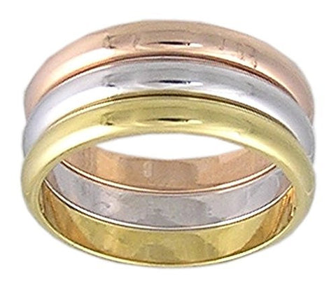 Unique Tri-Color Rhodium and,Gold Plated Eternity Ring