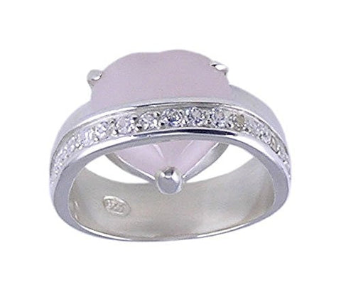 Pink Cubic Zirconia .925 Sterling Silver Heart Ring