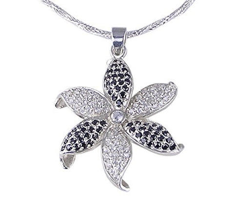 Black and Clear Cubic Zirconia Flower .925 Sterling Silver Pendant