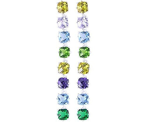 Multi Color CZ (Cubic Zirconia) .925 Sterling Silver Earrings