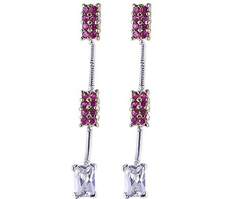 Ruby CZ (Cubic Zirconia) 2 Tone .925 Sterling Silver Earrings