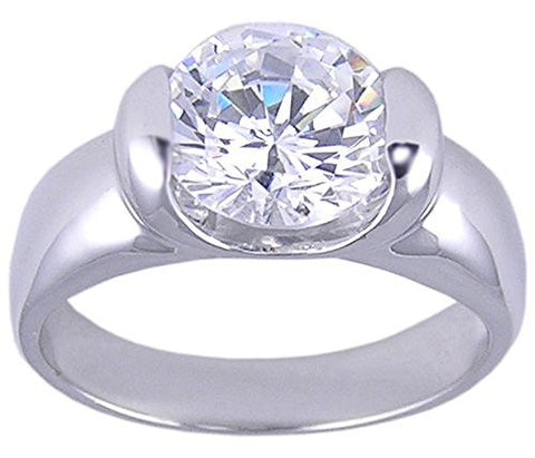 Solitaire Rhodium Plated Round Cubic Zirconia Ring