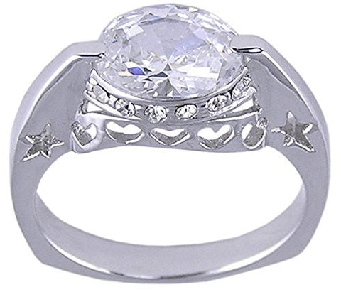 Rhodium Plated Oval Cubic Zirconia Ring