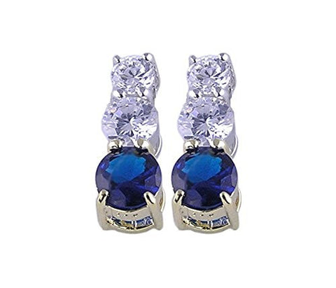Blue Sapphire Cubic Zirconia .925 Sterling Silver Rhodium Plated Earring