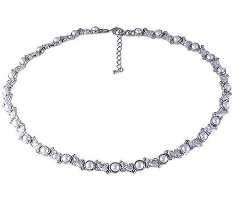 16 - 18 inch adjustable Rhodium Plated Synthetic Pearl Necklace