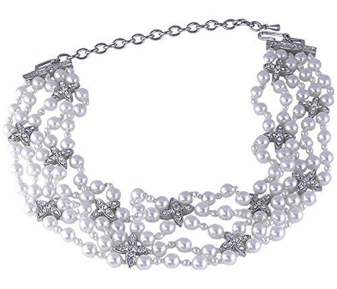 White Synthetic Pearl Rhodium Plated Choker Necklace