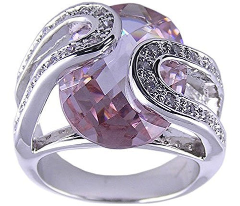 Rhodium Plated Lavender Oval Cubic Zirconia Ring
