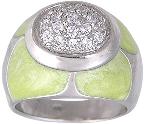 Green Epoxy Cubic Zirconia Rhodium Plated .925 Sterling Silver Ring