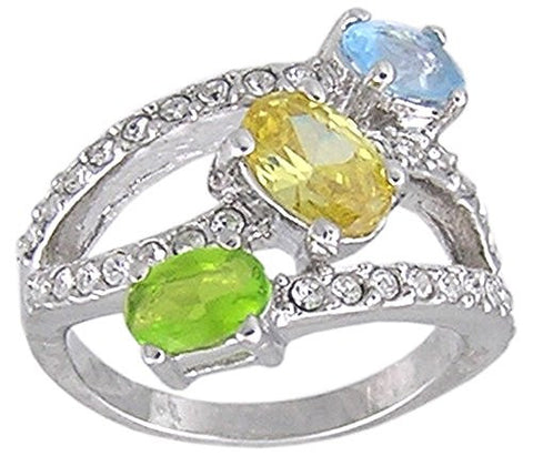 Green Peridot, Blue and Yellow Multi Color Cubic Zirconia Rhodium Plated Ring