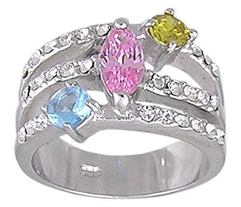 Pink, Blue and Yellow Multi Color Cubic Zirconia Rhodium Plated .925 Sterling Silver Ring