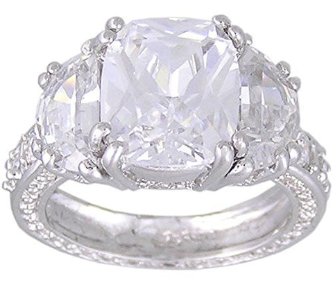 Cubic Zirconia .925 Sterling Silver Rhodium Plated Promise Ring