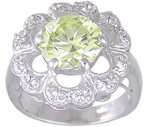 Apple Green Cubic Zirconia Rhodium Plated .925 Sterling Silver Flower Ring