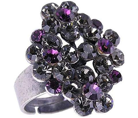 Purple Swiss Crystal Antique Silver Ring, size 7