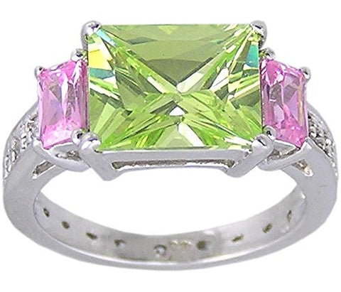 Apple Yellow and Pink Cubic Zirconia .925 Sterling Silver Rhodium Plated Ring