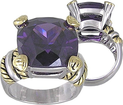AmethystandCubic Zirconia Rhodium Plated and 18K Gold Plated 2 Tone Ring