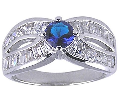 Rhodium Plated Blue Sapphire Cubic Zirconia Ring