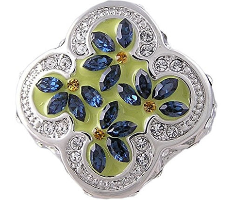 Sapphire Blue Cubic Zirconia Flower Ring