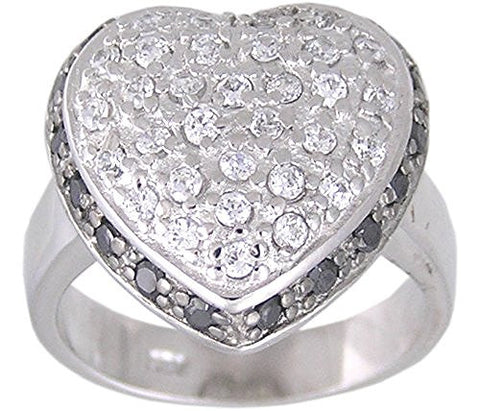 Pave' Black Cubic Zirconia Heart .925 Sterling Silver Rhodium Plated Ring