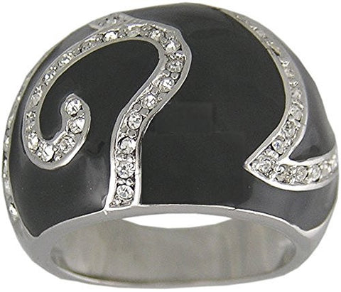 Black and Clear Cubic Zirconia Ring with Rhodium Plating
