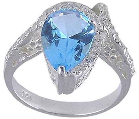 Blue Topaz Pear Shaped Cubic Zirconia .925 Sterling Silver Ring
