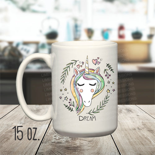 15 oz. Dream Unicorn Mug, Unicorn Coffee Cup, Pastel Unicorn, Mug for Unicorn Lovers, Unicorn Painting on a Mug, Fantasy Unicorn Mug,