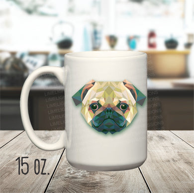 15 oz. Artistic Pug Mug, Cute Pug Mug, Mug for Pug Lovers, Pug Mom, Pug Dad, Geometric Pug Coffee Cup