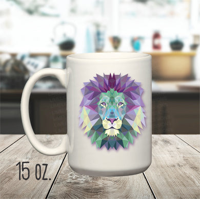 15 oz. Geometric Lion Mug, Spirit Animal Lion Mug, Abstract Lion Coffee Cup, Animal Lover Mug, Wild Animal Mug,
