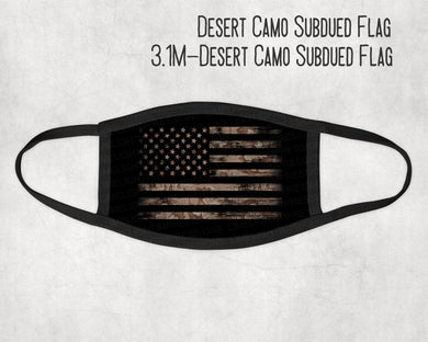 Made in the USA- Desert Camo with Subdued Flag Face Mask, Military Look Face Mask, Face Mask for Kids, Matching Masks, Veteran Face Mask