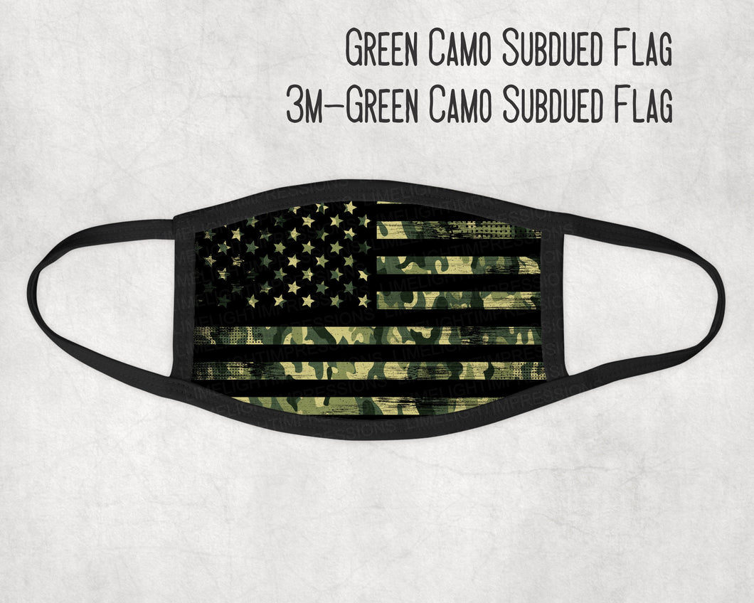 Made in the USA-Green Camo with Subdued Flag Face Mask, Military Look Face Mask, Face Mask for Kids, Matching Masks, Veteran Face Mask
