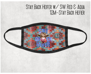 Made in the USA- Stay Back Heifer Red & Aqua Southwest Background Face Mask, Cow Face Mask, Adult Mask, Mask for Kids, Matching Masks,
