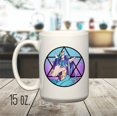 15 oz. Occult Unicorn Mug, Witchy Unicorn Mug, Star of David Unicorn Mug, Esoteric Unicorn Mug, Witchcraft Unicorn Mug, Unique Unicorn Mug