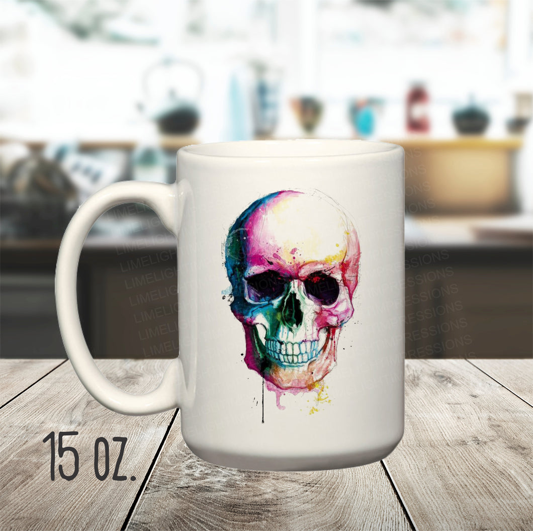 15 oz. Colorful Skull Mug, Skull Painting on Mug, Skull Coffee Cup, Gothic Skull Mug, Cool Skull on Mug
